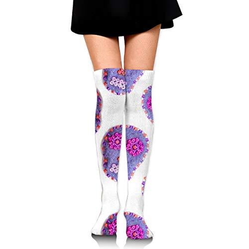 White Heart Lace Socken (Sugar Skull.Women's Over Knee Thigh Socks Girl High Stockings 65 Cm/25.6In)
