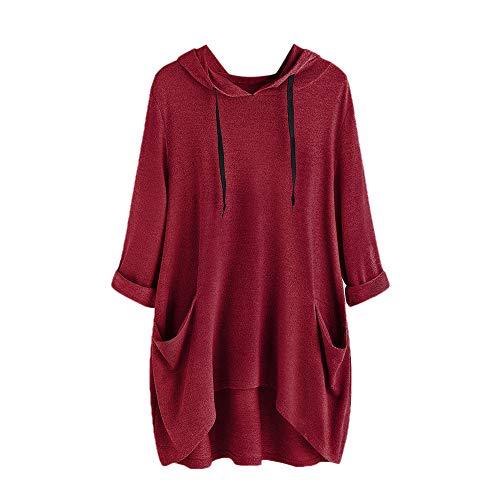 VEMOW Damenmode Tasche Lose Kleid Damen Rundhalsausschnitt beiläufige Tägliche Lange Tops Kleid Plus Größe(Y2-Weinrot, EU-48/CN-XL)