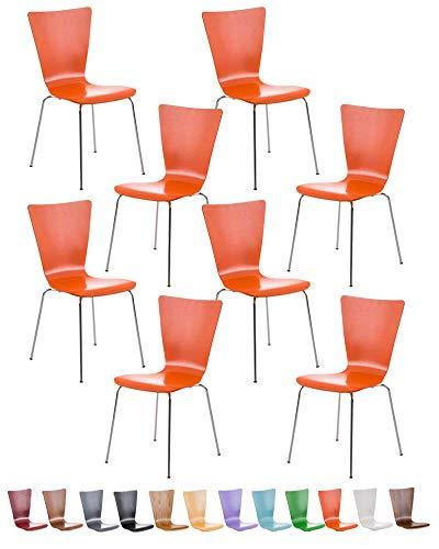 CLP Lot de 8 Chaises Empilables Aaron I Chaises Visiteur en Bois Dossier Siège Ergonomique et Confortable I Hauteur Assise 45 cm I Couleur: Orange