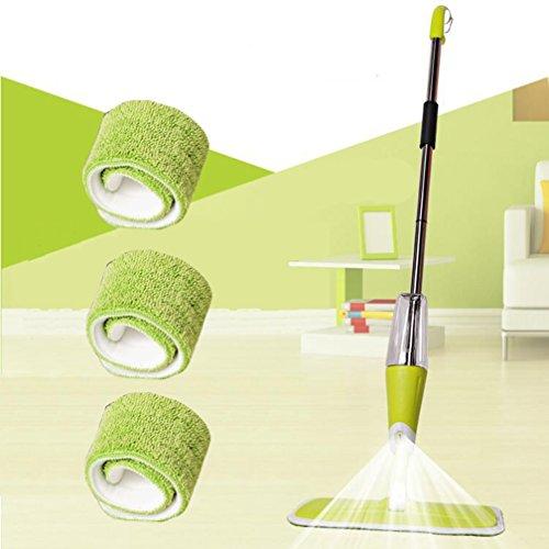 Manuelle Boden Spray Mop Mikrofaser, Spray reinigen Expert 360Grad Profi Griff Mop Reiniger für Home Küche Hartholz, Laminat, Holz, Keramik Fliesen Reinigung, mit 3Stück Mikrofaser-Pads grün (Spray-mop-lösung)