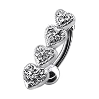 White Crystal Stone Trendy 4 Heart Design 925 Sterling Silver with Stainless Steel Belly Bars