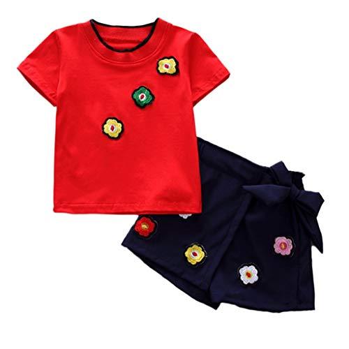 JUTOO 2 Stücke Set Kinder Kinder Mädchen Kurzarm Floral T-Shirt Tops + Bow-Knot Shorts Set Outfit (rot,120)