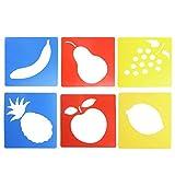 Qiuxiaoaa 6 Piezas de plástico Pintura de Frutas Tablero de Copia Plantilla de Dibujo Plantillas gobernantes niños Pintura DIY Materiales Hechos a Mano Juguetes educativos para niños de Color al Azar
