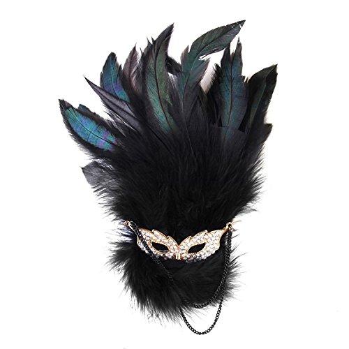 nalmatoionme Strass Masquerade Brosche Feder Haar -