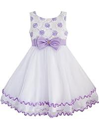 Mädchen Kleid Lila Blume Weiß Tüll Gefaltet Hochzeit Party