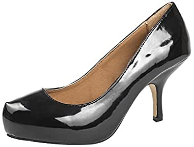 WOMENS FAUX LEATHER SQUARE TOE COURT STILETTO KITTEN HEELS LADIES SHOES PATENT BLACK SIZE 4
