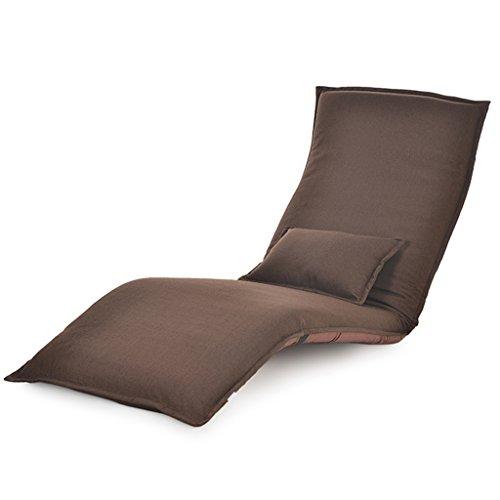 Faltbarer Fußboden-Stuhl-entspannender fauler Sofa-Bett-Sitz mit mehrfacher justierbarer Aufenthaltsraum-Boden-Liege-Lagerschwelle Futon-Matratzen-Sitz-Stuhl-Kissen ( Color : Brown )