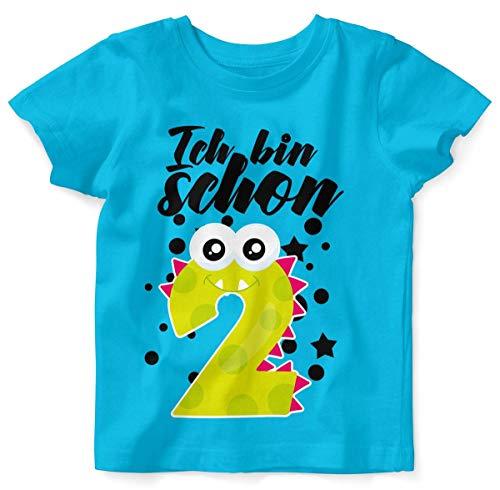 T-Shirt mit Spruch für Jungen Mädchen Unisex Kurzarm Ich Bin Schon 2 | handbedruckt in Deutschland | Handmade with Love, Farbe:Atoll, Grösse:92/98 ()