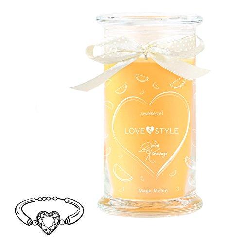 JuwelKerze Magic Melon by Daniela Katzenberger - Duftkerze mit Schmuck-Überraschung als Geschenk für Sie (925er Sterling Silber Armband, Love & Style Edition)