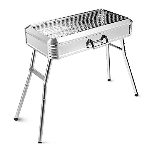 Home Outdoor Picknick Tragbare Holzkohle Verdickte Edelstahl BBQ Barbecue Grill Ofen Ofen , silver