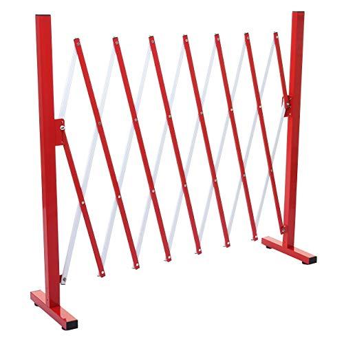 Mendler Absperrgitter HWC-B34, Scherengitter Zaun Schutzgitter ausziehbar, Alu rot-weiß ~ Höhe 103cm, Breite 28-200cm