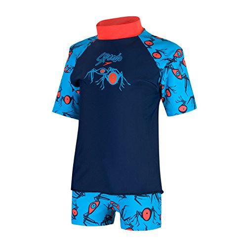 Speedo Loco Burst Essential Suntop, Costume da Bagno Unisex Bambini, Blu  (Navy/Hot Orange), 4 Anni