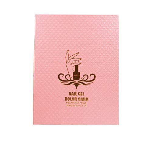 Lurrose 216 Farben Nagel Gelpoliermittel Display Chart Nagellack Farbe Karton Nail Art Salon Set (Rosa)