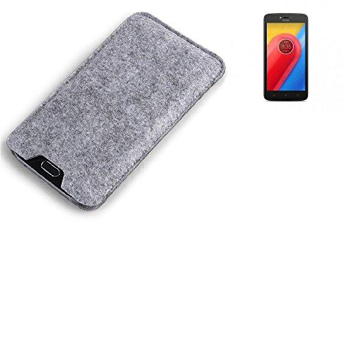 K-S-Trade Filz Schutz Hülle für Lenovo Moto C LTE Schutzhülle Filztasche Filz Tasche Case Sleeve Handyhülle Filzhülle grau
