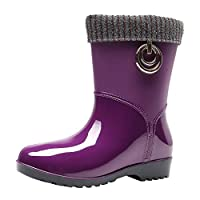 BOMING Women Non-Slip Rain Boots Ladies Warm Snow Boot Flat Outdoor Water Shoes