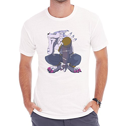 Digimon Garurumon Wolf Gabumon Think Herren T-Shirt Weiß
