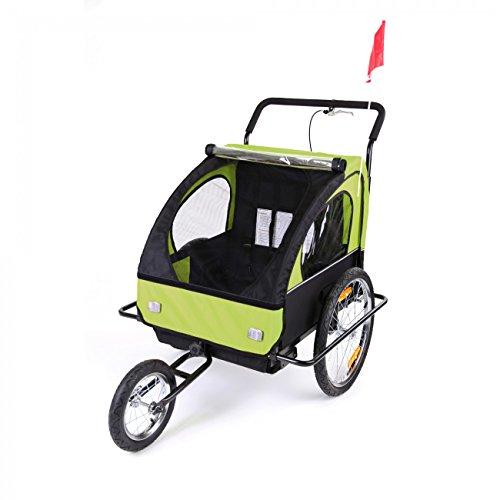 SAMAX Fahrradanhänger Jogger 2in1 Kinderanhänger Kinderfahrradanhänger Transportwagen gefederte Hinterachse für 2 Kinder in Grün/Schwarz neu – Black Frame - 3