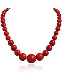 Jane Stone Collier Sautoir Fantaisie Perles Ethnique Rouge Vetement Accessoires Femme Bijoux Tendance