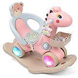 Schaukelpferd Kinder Schaukelpferd Licht Holz Pferd Dual-Use Leitplanke Große Dicke Kunststoff Mit Musik Roller Geschenk 85 * 39 * 50 cm FANJIANI (Farbe : Pink)