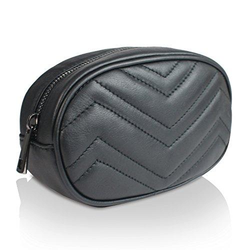 Gloop Bauchtasche echt Leder Tasche GŸrteltasche Handtasche Geldbeutel Made in Italy 1.015.5 Schwarz