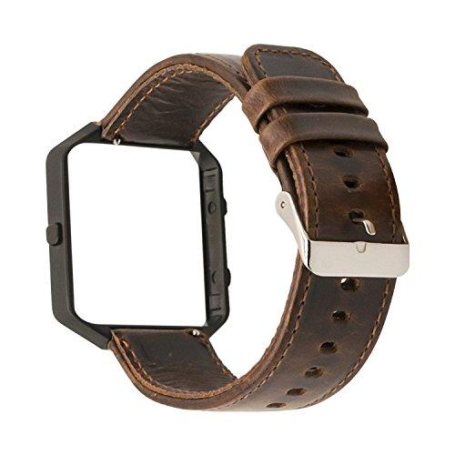 Armband für Fitbit Blaze Leder, MroTech Fitbit Blaze Armband mit Metallrahmen retro Leder Uhrenarmband Lederarmband für Fitbit Blaze Smartwatch ( Kaffee + Schwarz ) (Leder Belüftet Damen)