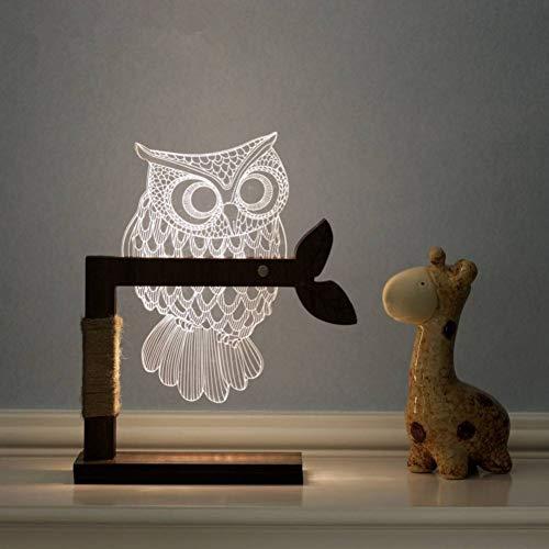 m der Eule 3D führte justierbares Licht-Schreibtisch-Tischlampen-Nachtlicht-Inneneinrichtungen, warmes Weiß ()