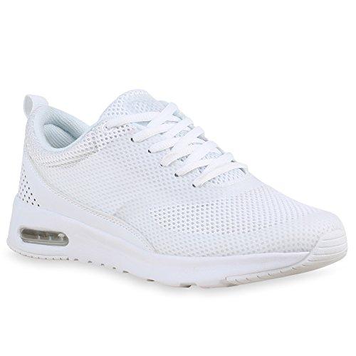 Damen Herren Sport Runners Lauf Sneakers Neon Schuhe 142364 Weiss Berkley 40 | Flandell®