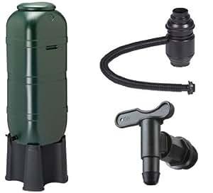 Regensammler Wassertonne für 100 Liter mit Standfuß, Füllautomat (Befüllsystem) und Wasserhahn bzw. Ablaufventil