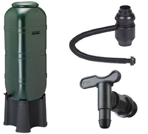Kreher Regensammler Wassertonne für 100 Liter mit Standfuß, Füllautomat (Befüllsystem) und Wasserhahn bzw. Ablaufventil