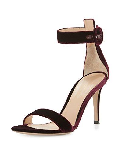EDEFS Damen Peep Toe 80mm High Heel Sandalen mit Schnalle Sommer Stilettsandalen Knöchelriemchen Schuhe Bordeaux