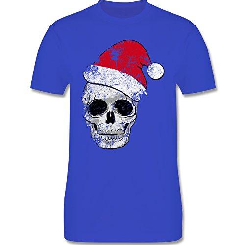 Weihnachten & Silvester - Totenkopf Weihnachtsmütze Vintage - 3XL - Royalblau - L190 - Herren T-Shirt Rundhals
