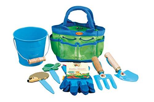 Tierra Garden 7-LP380 Garten-Satz für kleine Kinder, Schaufel, Gabel, Handschuhe, Pflanzen-Marker und Eimer, blau
