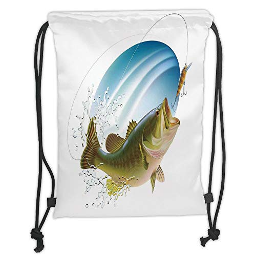 OQUYCZ Drawstring Sack Backpacks Bags,Fishing Decor,Largemouth Sea Bass Catching a Bite in Water Spray Motion Splash Wild Image,Green Blue Soft Satin,5 Liter Capacity,Adjustable String Closure (Spray Tie Dye)