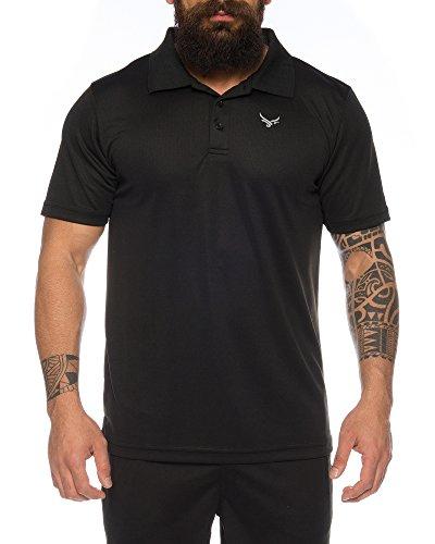 Raff & Taff Polo Shirt Fitness Shirt hochwertiges Atmungaktives Funktionsshirt T-Shirt Freizeit Shirt (Schwarz, XXL)