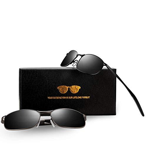 FEIDU Sportbrille Sonnenbrille Herren Polarisierte-HD Lens Metal Frame Driving Shades FD 9005 (2er pack-Schwarz/Gun-Schwarz/Schwarz, 57)
