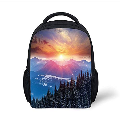 Kids School Backpack Winter Decorations,Sunset in Mountains with Hazy Lights with Magical Dawn Horizon Theme,Orange Blue Plain Bookbag Travel Daypack Blue Dawn Cup