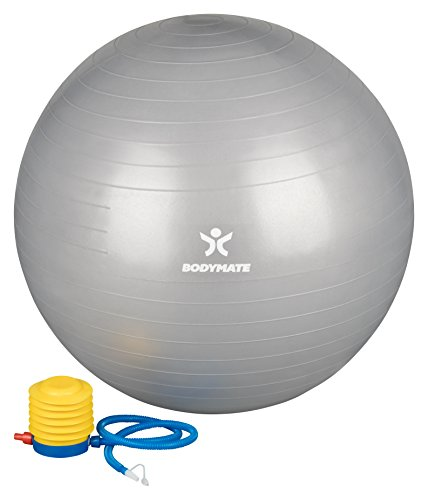 BODYMATE-Exercise-Ball-E-book-with-extensive-exercise-guides-included-Swiss-balls-gym-quality-for-fitness-birthing-pregnancy-Air-pump-included-Anti-Burst-ball-chair-85cm-Silver