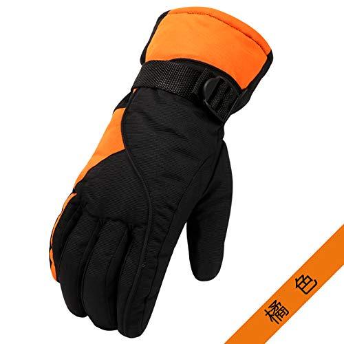 LybGloves Skihandschuhmann- und -frauenwinter, der warme Handschuhe im Freien Winddichte kalte wasserdichte Starke Paarmotorradhandschuhe, eine Größe, Orange reitet