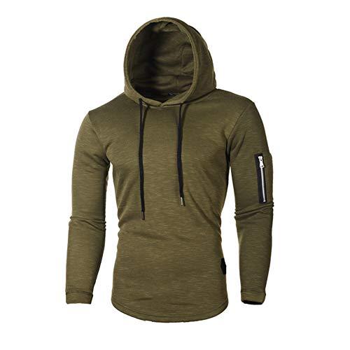 Men Hoodie Long Sleeve Shirt Slim Fit Casual Hooded Sweatshirt Muscle Tops,Green,L (Wool Crewneck Pullover Green)
