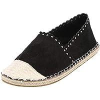 Zapatos Hay planos bajos de mujer,Sonnena ❤️ Zapatos planos mujer paja redonda Zapatos casuales de gamuza Slip-On zapatos únicos estilo de Roma