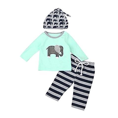 3 Stück Kleinkind Säugling Baby Junge Mädchen Elefant Kleider Set Tops + Hosen + Hut Outfits Hirolan Tier Drucken Lange Hülse Baumwolle Mischung Anzüge (Blau,