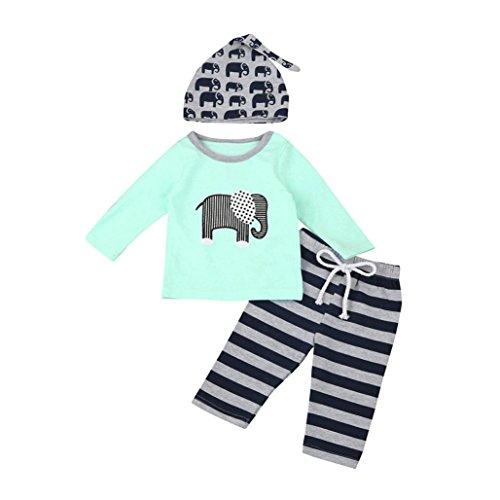 3 Stück Kleinkind Säugling Baby Junge Mädchen Elefant Kleider Set Tops + Hosen + Hut Outfits Hirolan Tier Drucken Lange Hülse Baumwolle Mischung Anzüge (Blau, 100cm) -