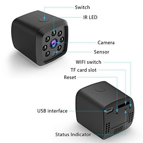 HEYSTOP Mini Cámara de vigilancia wifi Oculta espía Cámara 1080P HD Portátil Interior/Hogar Cámara IP de Seguridad/Visión Nocturna por Infrar Rojos Vigilancia Movimiento