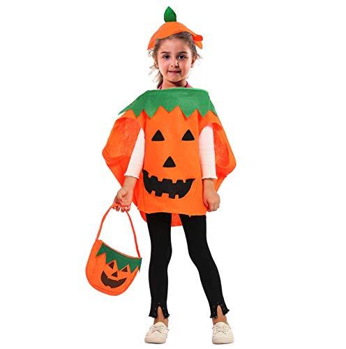 Peicci - costume da zucca di halloween per bambini, con cappello e borsa