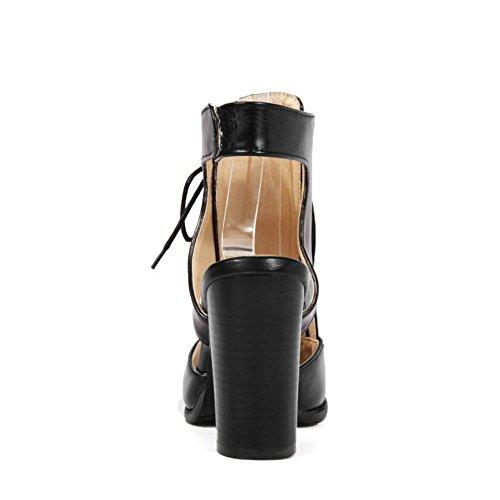TAOFFEN Femmes Talons Hauts Sandales Classique Bloc Lacets Gladiateur Peep Toe Chaussures 631 Noir