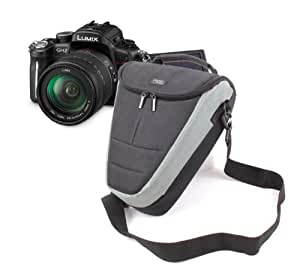 Sacoche large de protection noir / gris pour appareils photos SLR Panasonic Lumix FZ48, FZ62, FZ200, FZ48 EF-K, TZ30, & SZ1 - poignée rembourrée