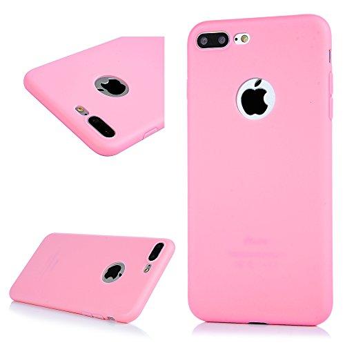 3 x Coque pour iPhone 7 Plus, Case Housse Étui Bumper Coque de Protection TPU Silicone Gel Transparent Souple Flexible Ultra Mince Slim Léger Anti Rayure Antichoc (Rose Rouge Jaune) Noir Rose Rouge