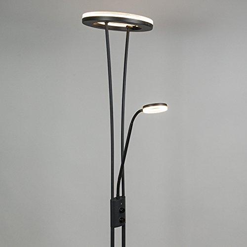 QAZQA Modern Stehleuchte / Stehlampe / Standleuchte / Lampe / Leuchte Divine schwarz Dimmer / Dimmbar / Innenbeleuchtung / Wohnzimmer / Schlafzimmer / Deckenfluter Metall Rund / Länglich / inklusive L - 6
