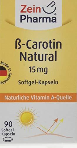 ZeinPharma Beta Carotin 15 mg 90 Kapseln (3 Monate Vorrat) Vorstufe von Vitamin A Hergestellt in Deutschland, 41 g