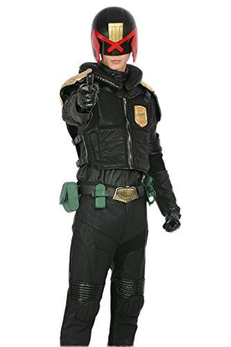 Wellgift Halloween Outfit mit Helm Cosplay Kostüm Richter Schwarz PU Leder Voller Anzug mit Gürtel Zubehör Kostüm Coole Kleidung Prop